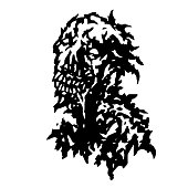 Zombie flowing from the mouth with saliva. Vector illustration. Black and white colors. Horror genre.
