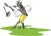 A layered vector cartoon of a Zombie golfer.