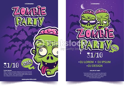 Zombie party a4 invitation banner funny cartoon monster face on zombie party a4 invitation banner funny cartoon monster face on lilac background with silhouette of stopboris Images