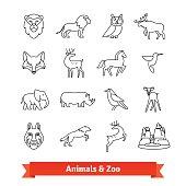 Zoo animals and birds. Thin line art icons set. Zoological garden wildlife, national park landscape. Linear style symbols isolated on white.