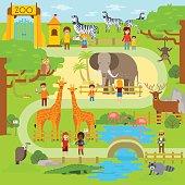 Zoo infographics elements with elephant, giraffe, vulture, crocodile, monkey, deer, zebra and snake. Vector flat illustration.