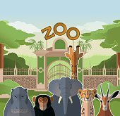 Vector image of a zoo gate with african flat animals