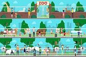 Zoo interior set. Adult and young people watch animals in the cages.