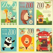 Zoo Park Posters Set. Vector Illustration.