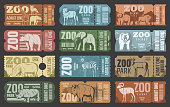 Zoo tickets template design with african and forest animal. Retro grunge admit one card or coupon with african safari lion, elephant and giraffe, bear, zebra and rhino, hippo, antelope and bison