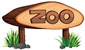 Zoo sign made of wood illustration