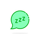 zzz like green cartoon speech bubble. concept of snoring chat sticker and popup resting message. simple flat style trend modern graphic art design isolated on white background