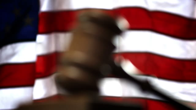COURTROOM-GAVEL AND FLAG