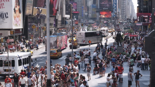 Ws lockdown view of traffic and pedestrians around times for What to do around times square