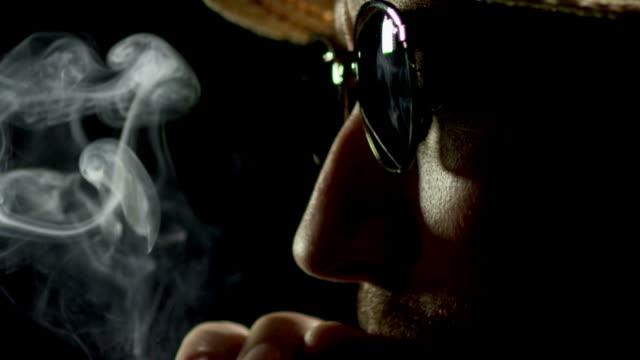 CIGAR SMOKER ON BLACK-SLOW MOTION-1080HD