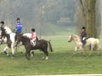 Prince William Peter Philips and Zara Philips ride ponies through Windsor Great Park 1989