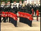 Foot Guards in bearskin hats form lines during Trooping the Colour 09 Jun 90