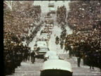 wide shot of ticker tape parade for first men on moon / Apollo 11