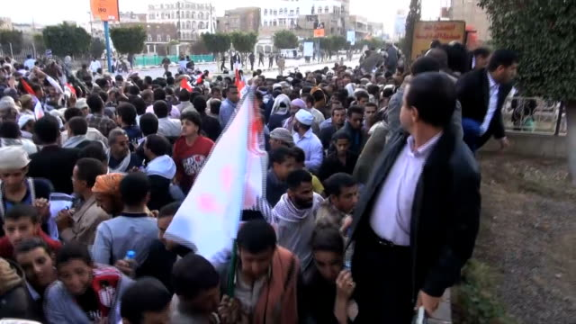 SANAA PROTEST AMTI HOUTHIS COUP