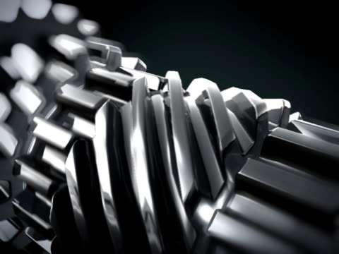 CLOSE UP IN 3D METTALIC GEARS ROTATING LOOP