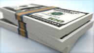AMERICAN 100 DOLLAR BANK NOTES PACKS FALLING (HI-DEF)