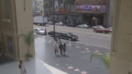 HIGH ANGLE DOWN OF PEDESTRIANS WALKING ON THE HOLLYWOOD WALK OF FAME IN FRONT OF THE KODAK THEATER ON HOLLYWOOD BOULEVARD