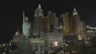 MEDIUM ANGLE OF LAS VEGAS STRIP. NEW YORK NEW YORK HOTEL AND CASINO. CITY SKYLINES
