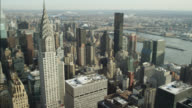 AERIAL OF NEW YORK CITY SKYLINE. EMPIRE STATE BUILDING VISIBLE.