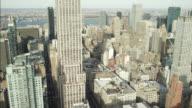 AERIAL OF NEW YORK CITY SKYLINE.
