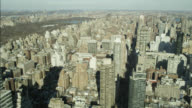 AERIAL OF NEW YORK CITY SKYLINE. CHRYSLER BUILDING VISIBLE.