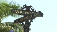 CLOSE ANGLE OF STREET SIGN FOR RODEO DRIVE.