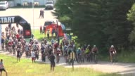 HUNDREDS OF MT BIKERS HEAD UP THE HIGHEST PEAK IN VERMONT MT MANSFIELD TO THE SUMMIT