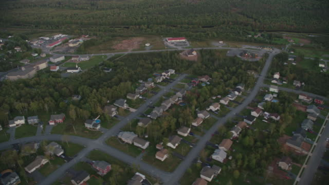 AERIAL OF HOUSES IN SUBURBS OR RESIDENTIAL AREA. TREES, FORESTS. FARMLAND. STORES AND SHOPS. HIGHWAYS.