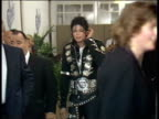 July 16 1988 FILM MONTAGE MS Michael Jackson arriving at event for Prince's Trust charity/ MS Jackson hugging and greeting people/ ZO WS People in...