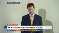 SPECIAL 1130 1230 Liberal Democrat Headquarters **BEWARE Nick Clegg resignation speech / press conference SOT I always expected this election to be...