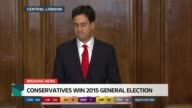 SPECIAL 1130 1230 London People in press conference applauding Ed Miliband MP applauded by Labour Party workers as into press conference to make...