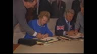 AUSTRALIAN PRIME MINISTER BOB HAWKE SPEECH AS BRITISH PRIME MINISTER MARGARET THATCHER SITS LISTENING / INT CONFERENCE / THATCHER WALKS INSPECTS...