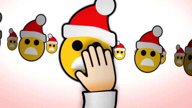 EMOTICONS KERST DRAGING HAND