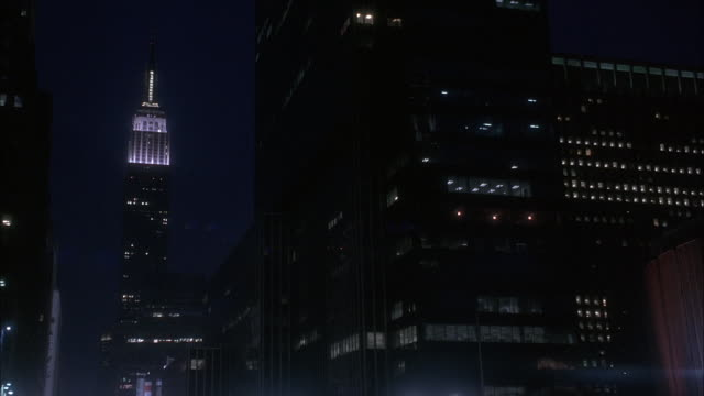 EST WIDE UP ANGLE OF EMPIRE STATE BUILDING. NIGHT.
