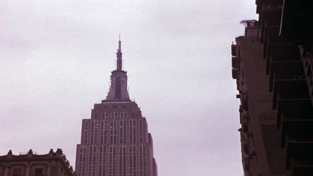 UP ANGLE OF EMPIRE STATE BUILDING AND SPIRE. BIRD FLIES BY FROM RIGHT TO LEFT.