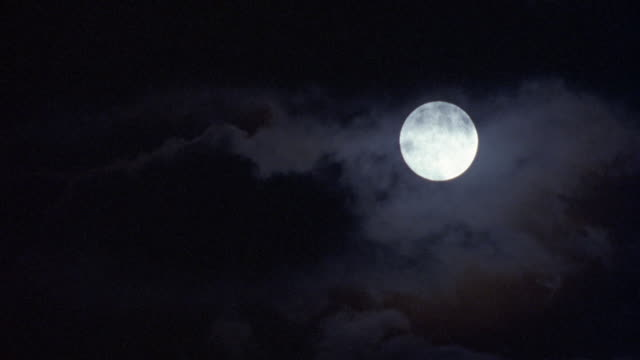 PAN DOWN FROM FULL MOON TO DARKNESS. POV SHAKES AT START.