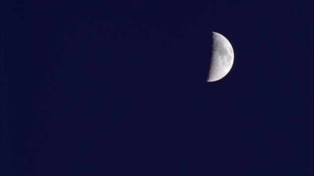MEDIUM ANGLE OF NIGHT SKY, HALF MOON VISIBLE.