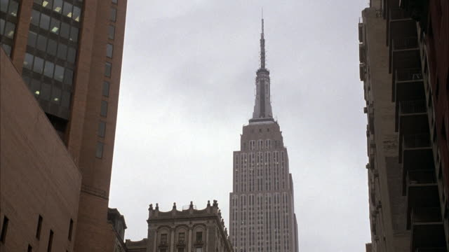 UP ANGLE OF EMPIRE STATE BUILDING AND SPIRE.