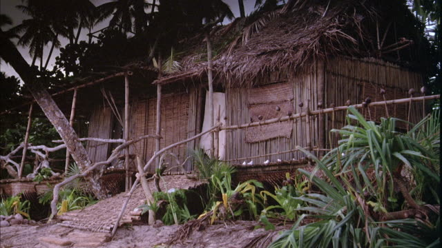 ZOOM IN ESTABLISH OF BUNGALOW, HUT, OR SHACK ON BEACH.