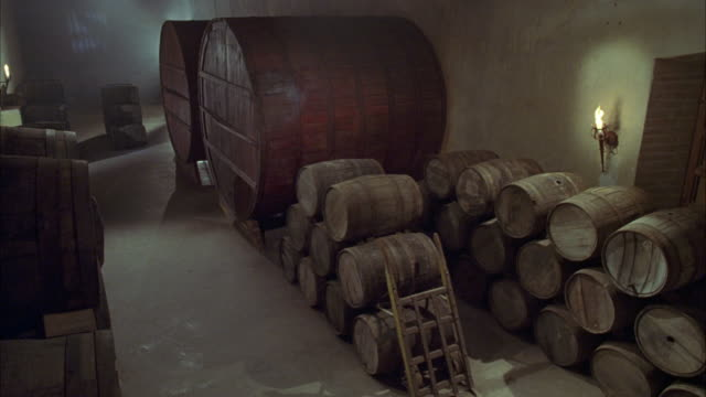HIGH ANGLE DOWN OF DIM LIT WINE CELLAR, BASEMENT WITH BROWN BARRELS STACKED AGAINST WALL. SEE LARGE BROWN OAK WINE BARRELS. SEE FLAMING TORCHES ON WALL.