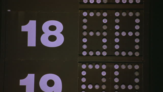 CLOSE ANGLE OF RACETRACK, TOWER, LIGHTED SCOREBOARD WHICH SHOWS RACE CARS' POSITIONS IN THE RACE BY NUMBER.  RACING. NUMBERS 18 AND 19 SEEN.
