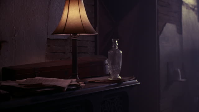 MEDIUM ANGLE OF HOME INTERIOR.  A STUFFED TAXIDERMY SQUIRREL ON A WOOD DESK NEXT TO AN OLD FASHIONED LAMP. VARIOUS PAPERS ON THE MESSY DESK.  AN EMPTY GLASS, MAYBE A VASE.  A WOOD CASE, MAYBE A VIOLIN.