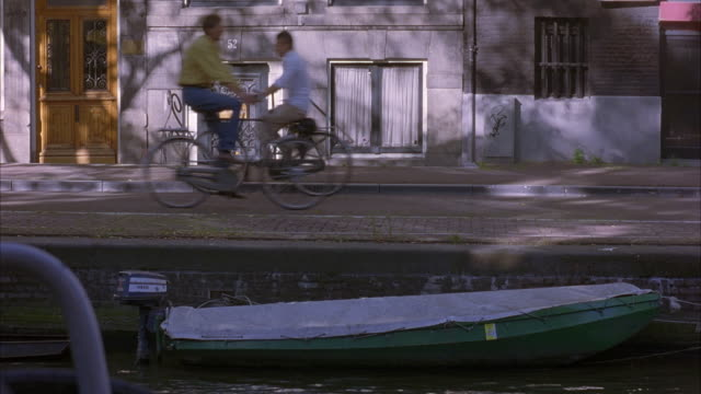 MEDIUM ANGLE OF AMSTERDAM CANAL. SEE  SMALL BOAT IN WATER, HOUSES ON OTHER SIDE OF CANAL. SEE TWO MEN ON BICYCLES RIDE ACROSS FRAME.