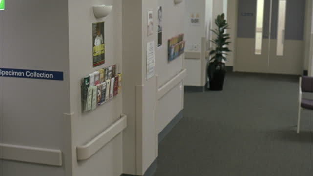 MEDIUM ANGLE OF HOSPITAL HALLWAY WITH PLANT, CHAIR, MEDICAL PAMPHLETS, SIGN READING SPECIMEN COLLECTION.
