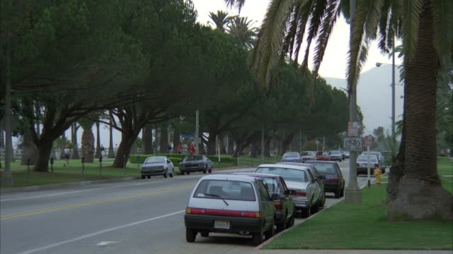 WIDE ANGLE TRACKING SHOT OF 1975 BLACK ROLLS ROYCE DRIVING PAST PALISADES PARK IN SANTA MONICA. JOGGERS, PEOPLE WALKING IN PARK. ROLLS ROYCE SKIDS AS IT PASSES CARS IN FRONT CROSSING DOUBLE YELLOW LINE.