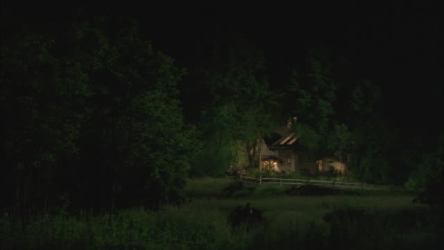 MEDIUM ANGLE OF HOUSE OR COTTAGE IN THE WOODS OR COUNTRY SURROUNDED BY TREES. SEE WOODEN FENCE SURROUNDING HOUSE. SEE LIGHTS ON IN HOUSE. HOUSE IS MOSTLY OBSCURED BY TREES.