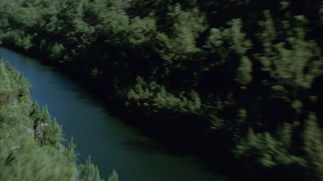 AERIAL OVER DENSELY TREE COVERED MOUNTAINS. SEE POV FLY THROUGH VALLEY OVER WIDE RIVER AT BOTTOM. SEE REFLECTION OF TREES FLANKING RIVER IN WATER. SEE CLEAR BLUE SKY.