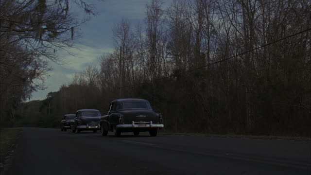 CLOSE ANGLE OF A FOREST OF SKINNY GRAY TREES.  THREE CLASSIC CARS BLUR PAST THE CAMERA AND FADE INTO THE DISTANCE DOWN THE ROAD.  WOODS, BLACK SEDANS.