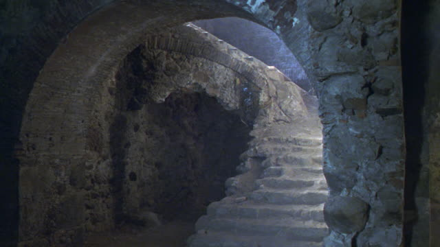 MEDIUM ANGLE OF STONE STAIRCASE AND ARCH TUNNEL. COULD SERVE AS CASTLE OR OLD CHURCH BASEMENT.