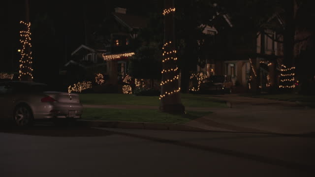 WIDE ANGLE OF SUBURBAN HOUSE DECORATED IN CHRISTMAS LIGHTS. HOUSE IS TWO STORY, UPPER TO MIDDLE CLASS. CAR PARKED NEXT TO CURB IN FG. PALM TREES WRAPPED IN CHRISTMAS LIGHTS.